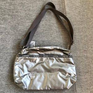 New Lesportsac Silver patent shoulder cross bag